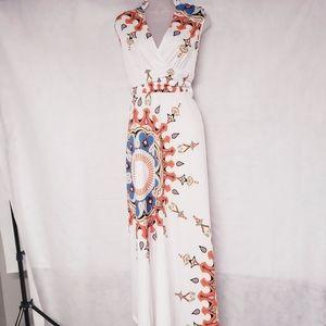 BEAUTIFUL Summer V-Neck Maxi Dress Large